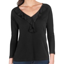 Lilla P Ruffle Shirt - Pima Cotton-Modal, 3/4 Sleeve (For Women) in Black - Closeouts