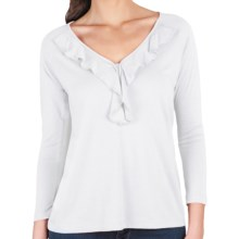 Lilla P Ruffle Shirt - Pima Cotton-Modal, 3/4 Sleeve (For Women) in White - Closeouts