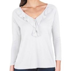 Lilla P Ruffle Shirt - Pima Cotton-Modal, 3/4 Sleeve (For Women) in Black