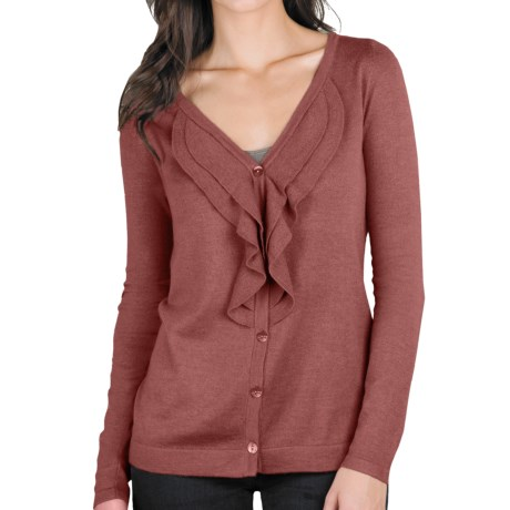 Lilla P Ruffled Cardigan Sweater - Cotton-Modal-Cashmere (For Women) in Calypso
