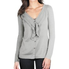 Lilla P Ruffled Cardigan Sweater - Cotton-Modal-Cashmere (For Women) in Light Ash - Closeouts