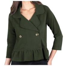 Lilla P Ruffled Crop Jacket - Stretch French Terry, 3/4 Sleeve (For Women) in Parsley - Closeouts