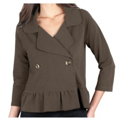 Lilla P Ruffled Crop Jacket - Stretch French Terry, 3/4 Sleeve (For Women) in Sable