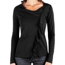 Lilla P Ruffled Drape Neck Shirt - Stretch Pima Cotton, Long Sleeve (For Women) in Black - Closeouts