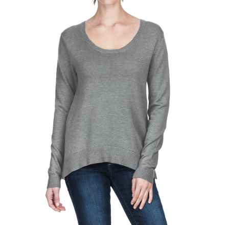 Lilla P Scalloped Back Sweater - Cotton-Modal (For Women) in Gunmetal - Closeouts