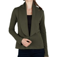 Lilla P Shawl Collar Jacket - Stretch French Terry Cotton (For Women) in Parsley - Closeouts