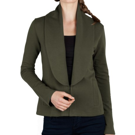 Lilla P Shawl Collar Jacket - Stretch French Terry Cotton (For Women) in Parsley