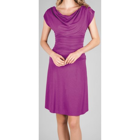 Lilla P Shirred Bodice Dress - Stretch Pima Cotton-Modal (For Women) in Wild Orchid