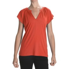 Lilla P Shirred Dolman Shirt - Pima Cotton-Modal, Short Sleeve (For Women) in Mandarin - Closeouts