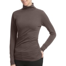 Lilla P Shirred Turtleneck - Pima Jersey Cotton, Long Sleeve (For Women) in Otter - Closeouts