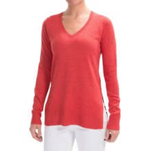 Lilla P Side Slit Tunic Sweater - Cotton-Modal (For Women) in Raspberry - Closeouts