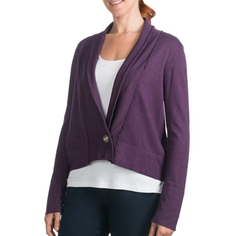 Lilla P Single-Button Cardigan Sweater - Cotton-Modal-Cashmere (For Women) in Violet