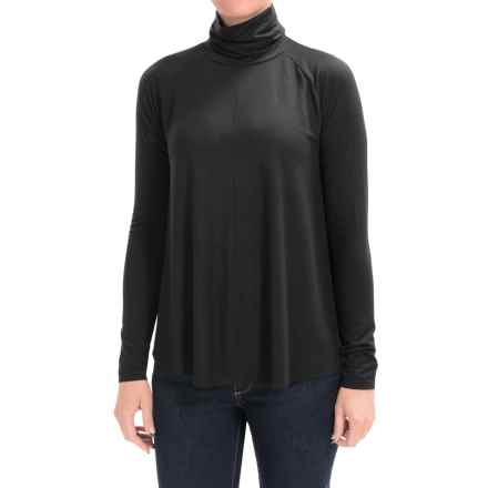 Lilla P Slinky Jersey Swing Turtleneck - Long Sleeve (For Women) in Black - Closeouts
