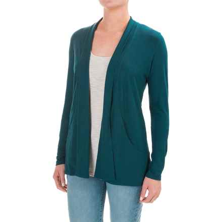 Lilla P Slub Open Cardigan Jacket - Pima Cotton-Modal (For Women) in Stream - Closeouts