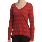 Lilla P Slub Stripe V-Neck Shirt - Back Pleats, Long Sleeve (For Women)