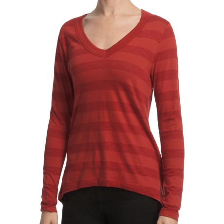 Lilla P Slub Stripe V-Neck Shirt - Back Pleats, Long Sleeve (For Women) in Paprika Slub Stripe