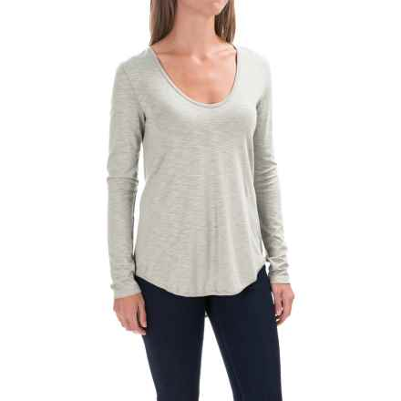 Lilla P Slub V-Neck Shirt - Long Sleeve (For Women) in Fog - Closeouts