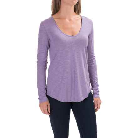 Lilla P Slub V-Neck Shirt - Long Sleeve (For Women) in Wisteria - Closeouts