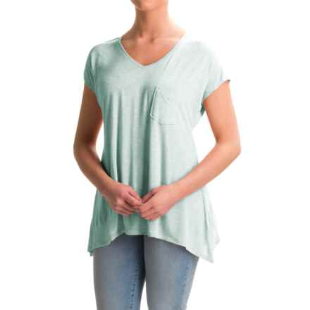 Lilla P Soft-Draped Swing Shirt - Short Sleeve (For Women) in Riverstone Heather - Closeouts