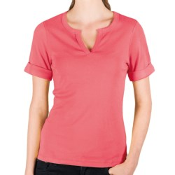 Lilla P Split Neck Shirt - Ribbed Pima Cotton, Rolled Short Sleeve (For Women) in Watermelon