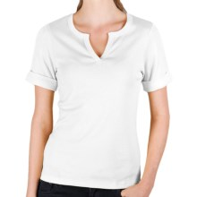 Lilla P Split Neck Shirt - Ribbed Pima Cotton, Rolled Short Sleeve (For Women) in White - Closeouts