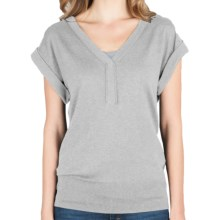 Lilla P Split Neck Sweater - Cotton-Modal-Cashmere, Short Sleeve (For Women) in Light Ash - Closeouts