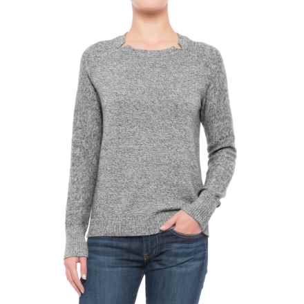 Lilla P Split Neck Sweater (For Women) in Black Marl - Closeouts