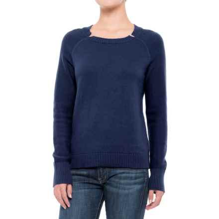 Lilla P Split Neck Sweater (For Women) in Midnight - Closeouts