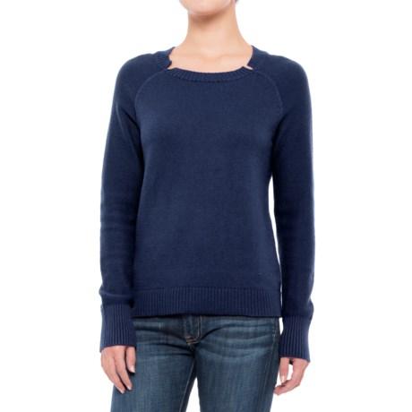 Lilla P Split Neck Sweater (For Women) in Midnight
