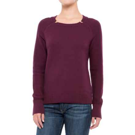 Lilla P Split Neck Sweater (For Women) in Plum - Closeouts