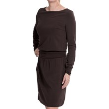 Lilla P Stretch Ruched Waist Dress - Pima Modal, Boat Neck, Long Sleeve (For Women) in Java Bean - Closeouts