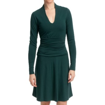 Lilla P Stretch Ruched Waist Dress - Stretch Pima Cotton-Modal, Long Sleeve (For Women) in Pine