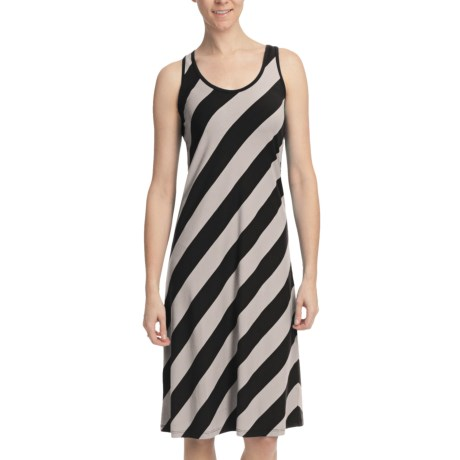 Lilla P Stretch Stripe Tank Dress - Stretch Pima-Modal, Racerback (For Women) in Black/Silver