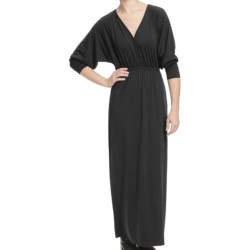 Lilla P Stretch V-Neck Maxi Dress - Long Dolman Sleeve (For Women) in Black