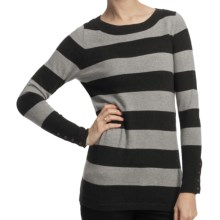 Lilla P Stripe Boat Neck Tunic Shirt - Cotton-Cashmere, Long Sleeve (For Women) in Carbon/Heather Grey - Closeouts