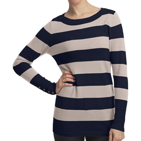Lilla P Stripe Boat Neck Tunic Shirt - Cotton-Cashmere, Long Sleeve (For Women) in Mink/Balsam