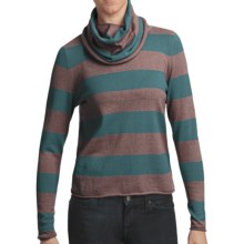 Lilla P Stripe Cropped Cowl Neck Sweater - Cotton-Cashmere (For Women) in Mink/Balsam - Closeouts