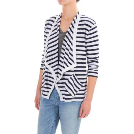Lilla P Stripe Flame Cardigan Sweater - Pima Cotton-Modal, Open Front, 3/4 Sleeve (For Women) in Peacoat Stripe - Closeouts