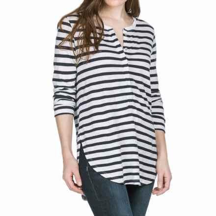 Lilla P Stripe Flame Henley Shirt - Pima Cotton-Modal, 3/4 Sleeve (For Women) in Peacoat Stripe - Closeouts