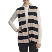 Lilla P Stripe Flyaway Sweater Vest - Cotton-Cashmere (For Women) in Navy/Chalk - Closeouts