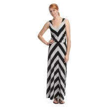 Lilla P Stripe Maxi Dress - Stretch Pima Cotton-Modal, V-Neck, Sleeveless (For Women) in Black/Silver - Closeouts