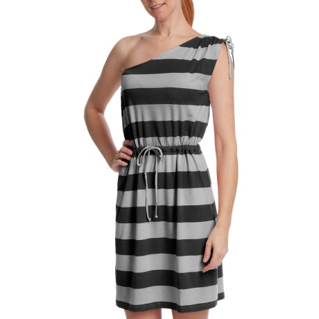 Lilla P Stripe One Shoulder Drawstring Dress - Sleeveless (For Women) in Black/Silver