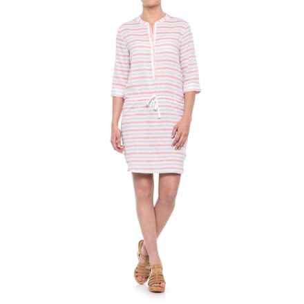 Lilla P Stripe Shirtdress - 3/4 Sleeve (For Women) in Orange Crush - Closeouts