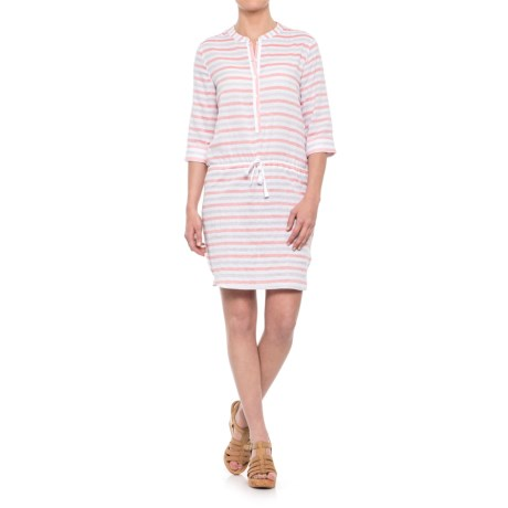 Lilla P Stripe Shirtdress - 3/4 Sleeve (For Women) in Orange Crush