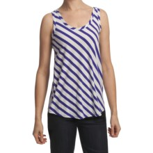 Lilla P Stripe Tank Top - Pima Cotton, Scoop Neck (For Women) in White/Pacific - Closeouts