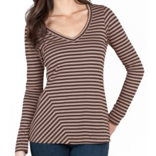 Lilla P Stripe V-Neck Shirt - Pima Cotton Jersey, Long Sleeve (For Women) in Granite/Rose Quartz - Closeouts