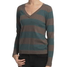 Lilla P Stripe V-Neck Sweater - Cotton-Cashmere (For Women) in Mink/Balsam - Closeouts