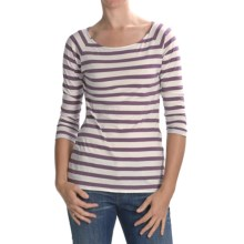 Lilla P Striped Boat Neck Shirt - 3/4 Sleeve (For Women) in Pearl/Jam - Closeouts