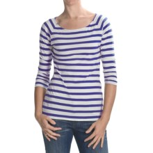 Lilla P Striped Boat Neck Shirt - 3/4 Sleeve (For Women) in White/Pacific - Closeouts