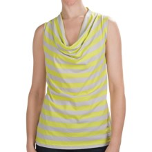 Lilla P Striped Cowl Neck Shirt - Sleeveless (For Women) in Keylime/Fossil - Closeouts